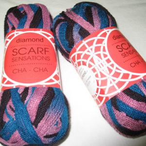 Diamond - Scarf Sensations - Cha Cha - black, rose pink, teal blue