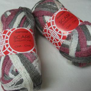 Diamond - Scarf Sensations - Cha Cha - rose pink, grey, white