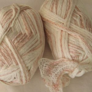 Frilly Scarf Yarn - No Label - white/pink