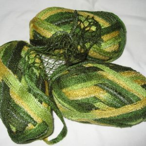 Frilly Scarf Yarn - No Label - greens/yellows